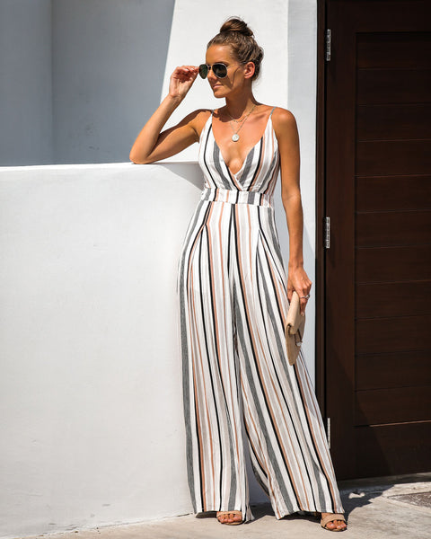 Watching Reruns Striped Tie Back Jumpsuit - FINAL SALE