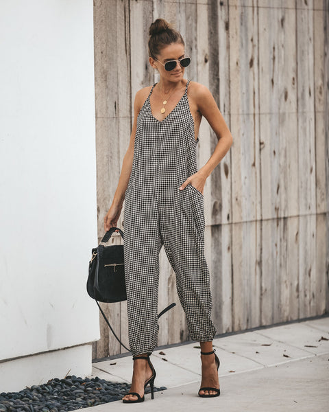 Round Up Pocketed Houndstooth Jumpsuit