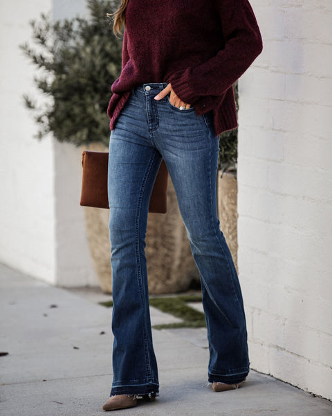 Acoustic High Rise Frayed Bell Bottom Denim