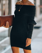 Savannah Off The Shoulder Sweater Dress - Black - FINAL SALE view 6