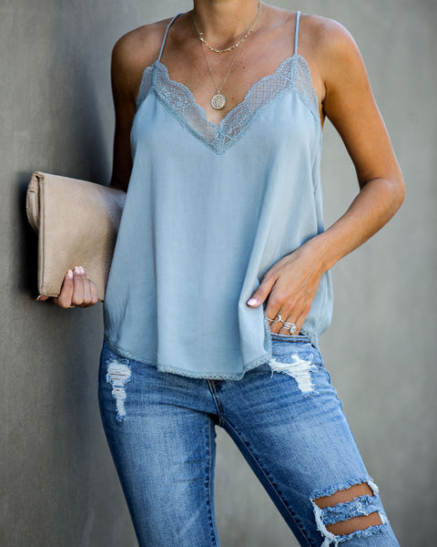Delicate Balance Lace Cami Tank - Dusty Blue