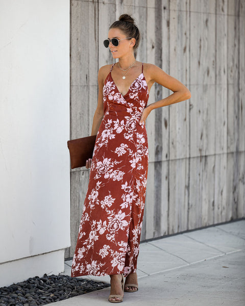 Josalina Satin Floral Maxi Dress