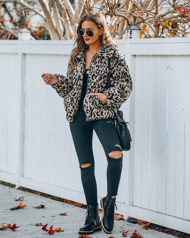 Carrie Pocketed Leopard Teddy Jacket