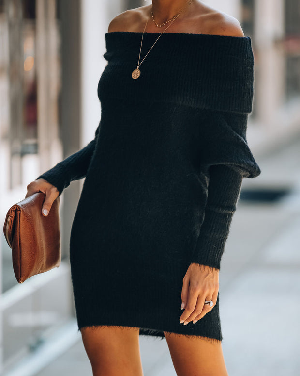 Savannah Off The Shoulder Sweater Dress - Black - FINAL SALE view 9