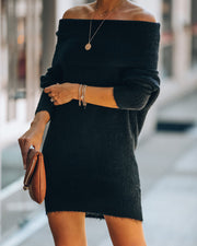 Savannah Off The Shoulder Sweater Dress - Black - FINAL SALE view 3