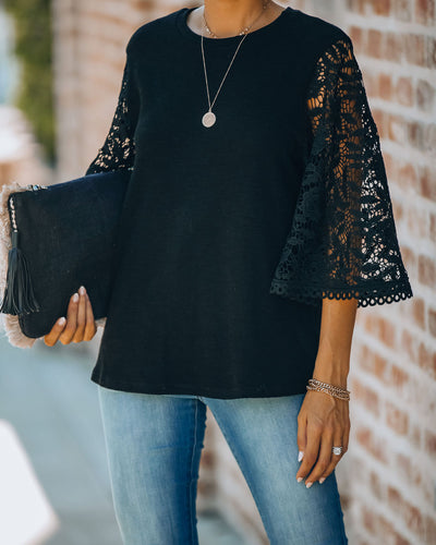 Let It Go Crochet Bell Sleeve Knit Top - Black