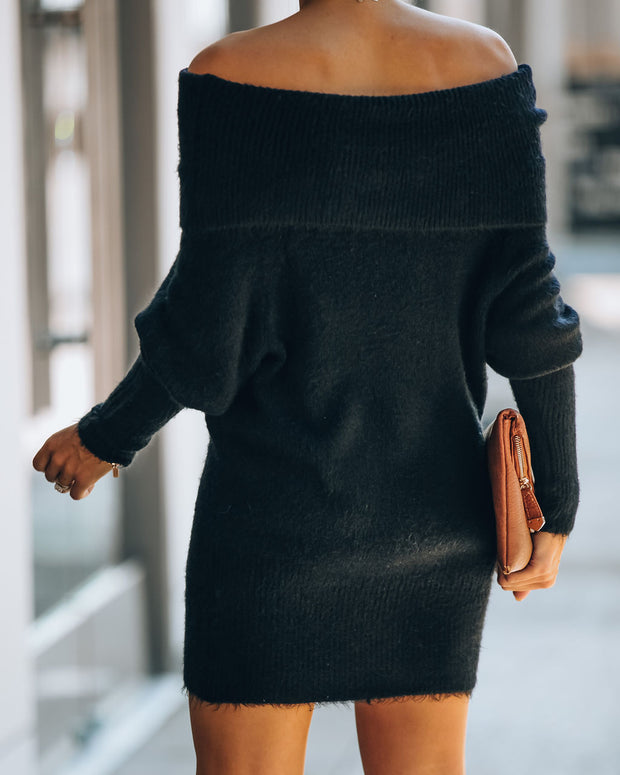 Savannah Off The Shoulder Sweater Dress - Black - FINAL SALE view 2
