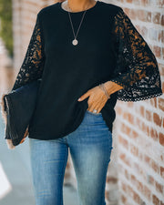 Let It Go Crochet Bell Sleeve Knit Top - Black - FINAL SALE view 8