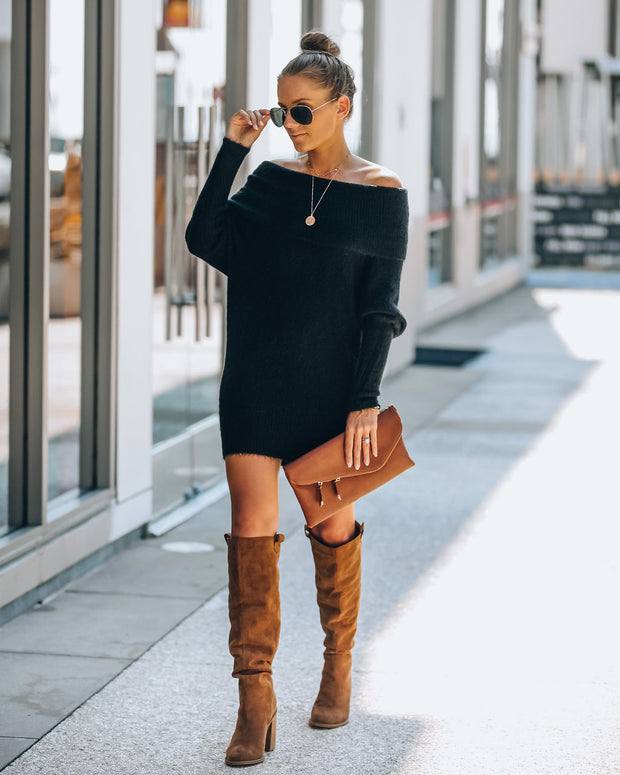 Savannah Off The Shoulder Sweater Dress - Black - FINAL SALE view 5
