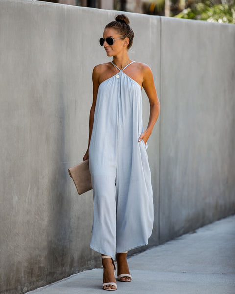 Young Spirit Pocketed Jumpsuit - Cloud