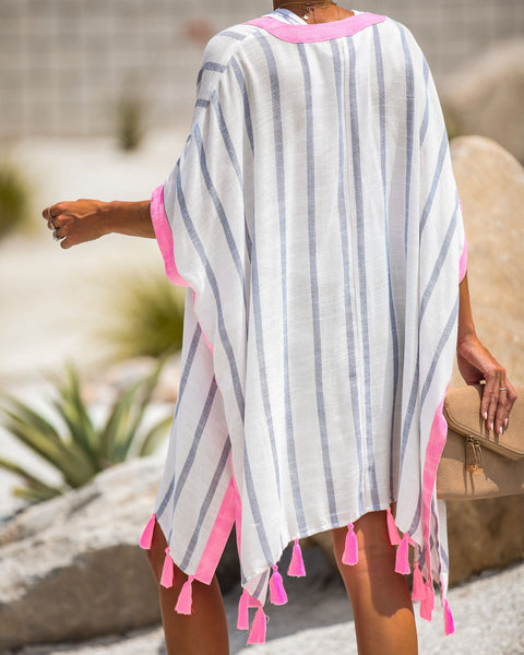 To Live For Fun Striped Shimmer Tassel Kimono