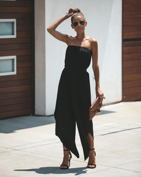 Berkeley Hills Strapless Tie Jumpsuit - Black