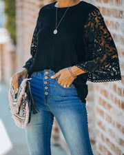Let It Go Crochet Bell Sleeve Knit Top - Black - FINAL SALE view 5