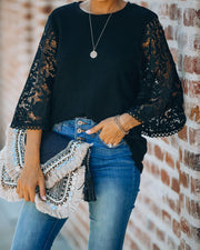 Let It Go Crochet Bell Sleeve Knit Top - Black - FINAL SALE view 7