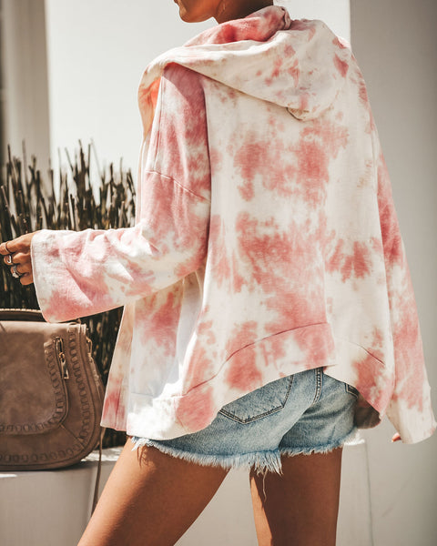 Candy Clouds Cotton Blend Pocketed Tie Dye Hoodie - Pink