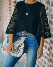 Let It Go Crochet Bell Sleeve Knit Top - Black - FINAL SALE view 1