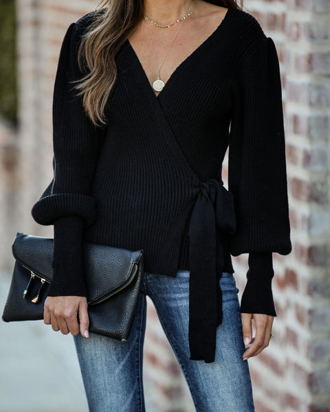 Harrison Ribbed Wrap Sweater - Black