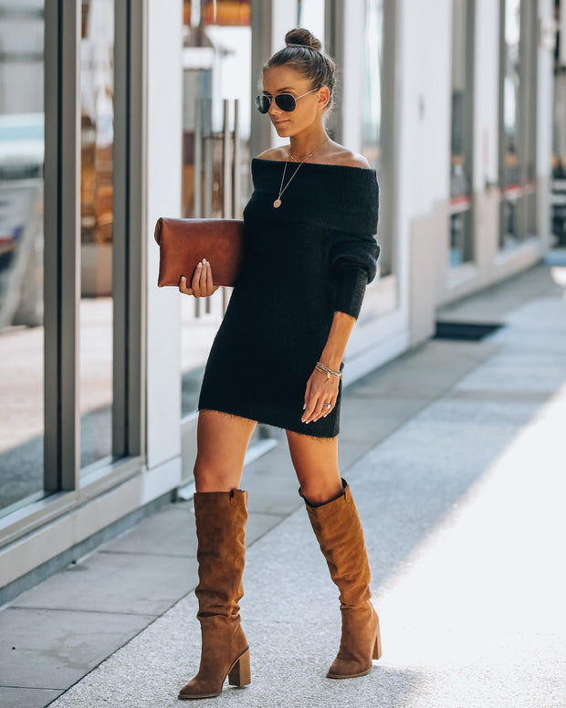 Savannah Off The Shoulder Sweater Dress - Black - FINAL SALE view 7