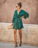 Sparks Fly Sequin Kimono Dress - Hunter Green