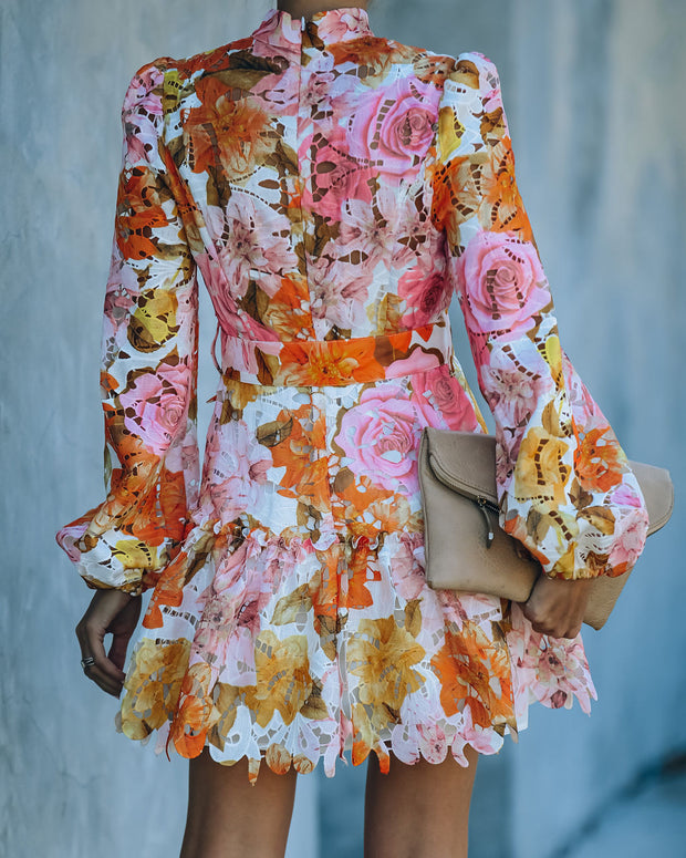 Stay True Floral Crochet Lace Belted Dress