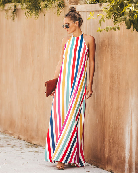 Gondola Striped Halter Maxi Dress