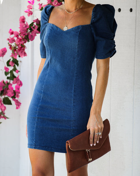 Etiquette Puff Sleeve Denim Mini Dress - FINAL SALE