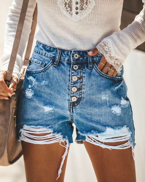 Hot Mama High Rise Distressed Denim Shorts