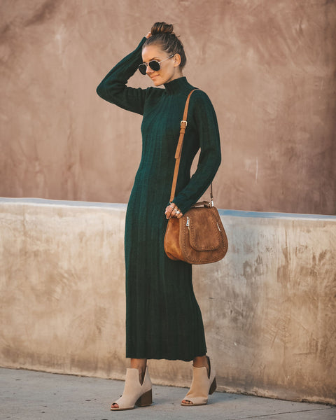 Adeline Ribbed Maxi Sweater Dress - Hunter Green