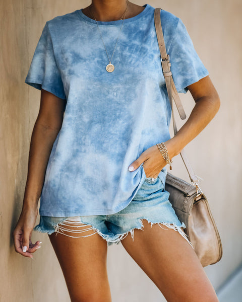 Spin The Mood Cotton Tie Dye Tee - Cloud