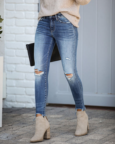 Less Is More Mid Rise Frayed Ankle Skinny
