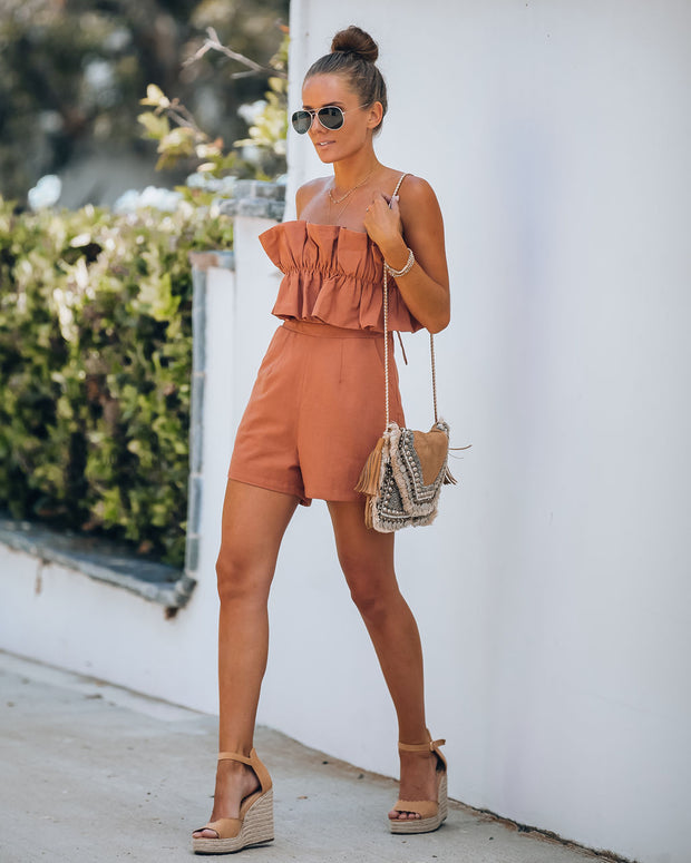 Zion Cotton Pocketed Strapless Romper - Terracotta