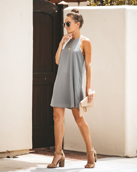 Show Me Your Moves Tank Shift Dress - Medium Grey - FINAL SALE