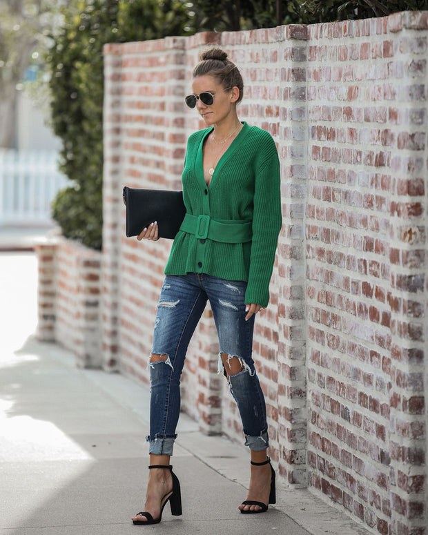 Fa La La Belted Button Down Sweater  - FINAL SALE