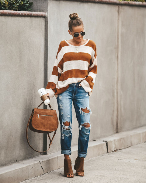 Early Bird Striped Knit Sweater - Camel