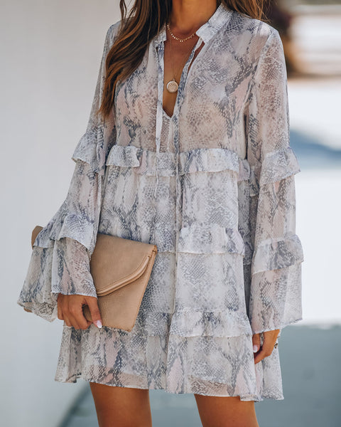 Lucid Landscape Snake Print Ruffle Tiered Tunic
