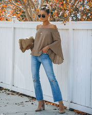Jordy Cotton Off The Shoulder Bell Sleeve Top - Mocha