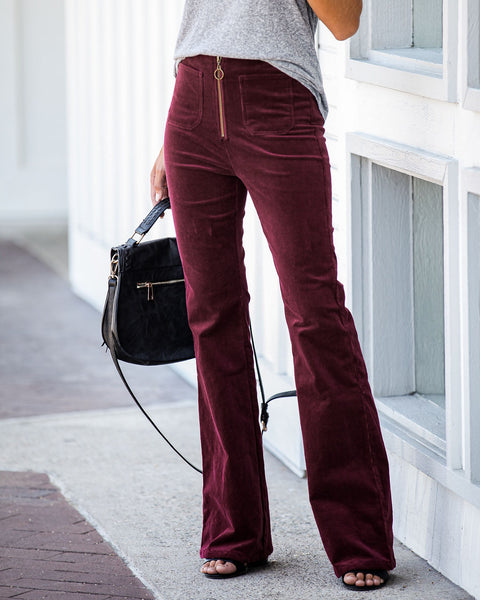 From The Archives Pocketed Corduroy Bell Bottoms - Wine - FINAL SALE