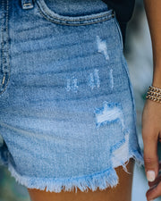 Amanda High Rise Distressed Denim Shorts view 4