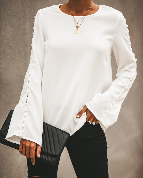 Get Down To Business Button Sleeve Blouse - White