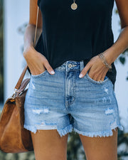 Amanda High Rise Distressed Denim Shorts view 1