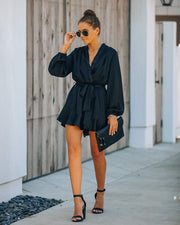 Get The Party Started Pocketed Satin Romper - FINAL SALE