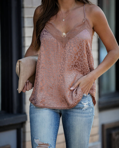 Act Now Leopard Embossed Lace Cami Tank