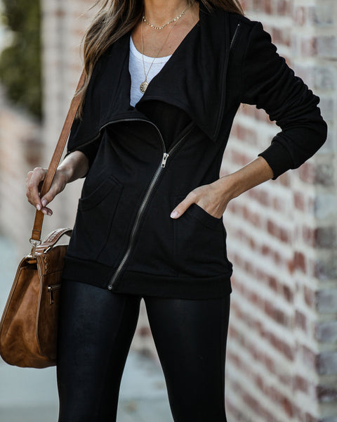 Cody Cotton Blend Pocketed Asymm Zip Jacket - Black - FINAL SALE