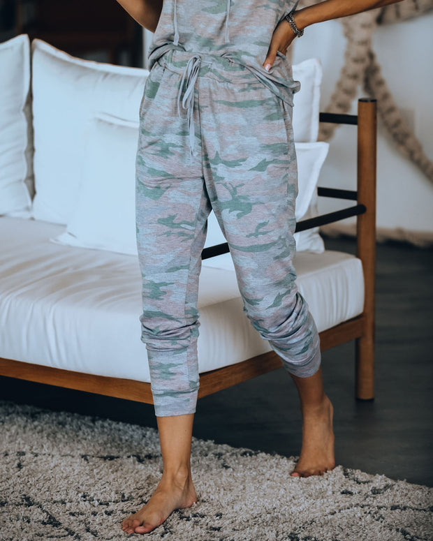 Uphill From Here Pocketed Knit Camo Joggers