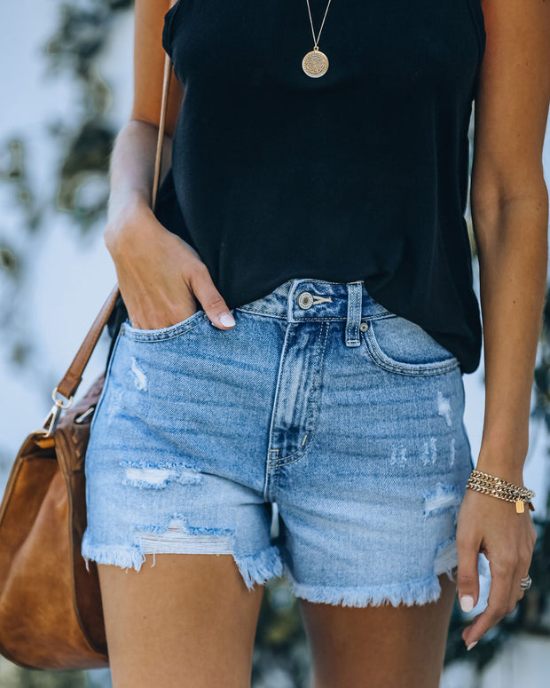 Amanda High Rise Distressed Denim Shorts view 3