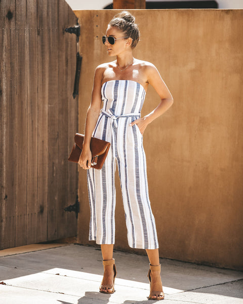Climb Aboard Pocketed Strapless Jumpsuit