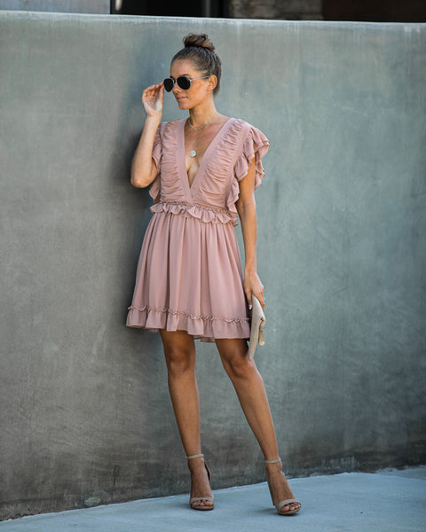 Sugar Rush Ruffle Dress - Mauve