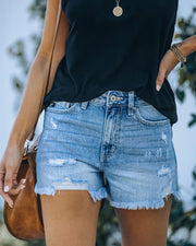 Amanda High Rise Distressed Denim Shorts view 7