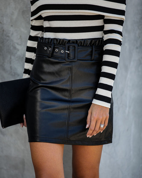 City Limits Belted Faux Leather Mini Skirt