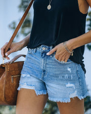 Amanda High Rise Distressed Denim Shorts view 5